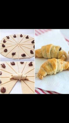 Essen These croissants are quick and easy to make, and perfectly flaky and Nutella-licious. Nutella Croissant, Breakfast Croissant, Chocolate Croissants, Chocolate Hazelnut, Chocolate Croissant Recipe, Gluten Free Croissant, Nutella Puff Pastry, Mini Croissants, Baking Recipes