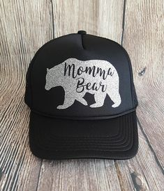 b41444667fbab Momma Bear Glitter Iron-on Decal for DIY Trucker Hat or T-shirt