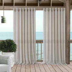 Carmen Sheer Extra Wide Indoor/Outdoor Window Curtain for Patio, Porch, Cabana - - Natural - Elrene Home Fashions Outdoor Curtains, Sheer Curtains, Window Curtains, Window Panels, Extra Wide Curtains, Patio Store, Classic Curtains, Floral Room, Thing 1