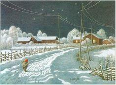 Lennart Helje (Famous Illustrators) – The Wandering Foxy ❧ Winter Illustration, Christmas Illustration, Cute Illustration, Troll, Baumgarten, Scandinavian Gnomes, Nordic Art, Fairytale Art, Fairytale House