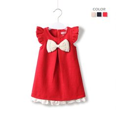 New 2013 Autumn Winter Baby Girls' Dresses With Pearls Bows Sleeveless Woolen Children Princess Dress 3 Colors Free Shipping $23.90