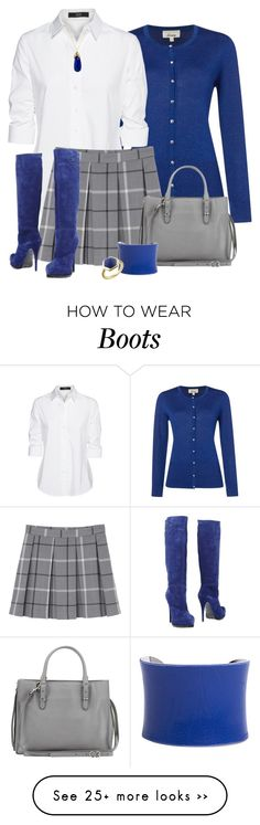 """Blue boots"" by danigrll on Polyvore featuring Linea, Steffen Schraut, Monki, Sebastian Professional, Balenciaga, Indulgems, UNEARTHED and Trisori"