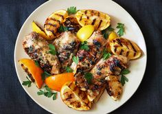 Grilled Citrus Chicken Breasts  The key to making moist and flavorful grilled chicken breasts is careful grilling–avoid cooking the chicken too quickly over too-high heat or it will end up scorched and dry. Oranges, lemons, and rosemary perfume this chicken while it grills.
