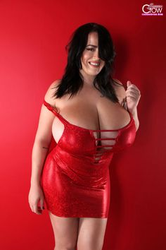 New unbelievable photoset Shiny Red Christmas set of glamour model with heavy natural juggs Leanne Crow
