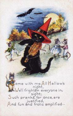 vintage cat and mice #VintageHalloween #HalloweenCat