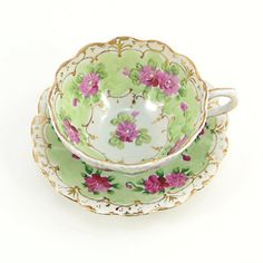Hand painted Tea Cup, green with pink flowers and gold trim