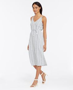 "Made+in+summery+linen+cotton,+our+striped+midi+dresses+up+your+look+in+a+way+that's+pulled-together+yet+easy.+Front+and+back+V-neck.+Sleeveless.+Self+tie+belt+with+tassels.+Side+slit.+Hidden+back+zipper+with+hook-and-eye+closure.+31""+from+natural+waist."