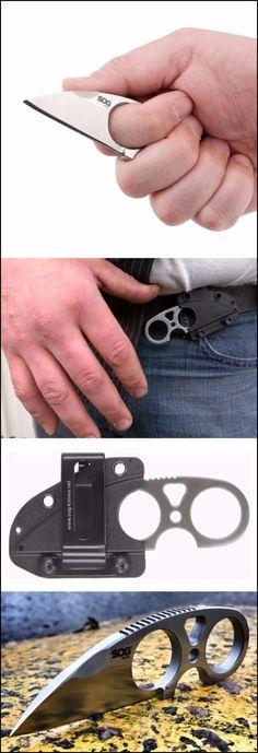 SOG Snarl EDC Mini Fixed Knife Blade JB01K-CP - Satin Polished 2.3 Blade, Stainless Steel Handle, Hard Molded Nylon Sheath, NeckBoot Every Day Carry