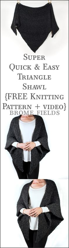 FREE Triangle Shawl Knitting Pattern + Video