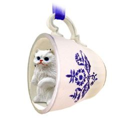 Persian White Cat Tea Cup Blue
