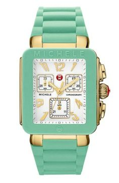 Shop MICHELE Watches at Neiman Marcus. Define your look with this large selection of chain and leather wrist watches. Michelle Watches, White Enamel, Jelly Beans, Square Watch, Sea Foam, Stainless Steel Case, Link Bracelets, Chronograph, Quartz