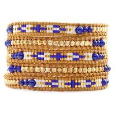 Chan Luu - Lapis Mix Bead Wrap Bracelet on Henna Leather, $245.00 (http://www.chanluu.com/wrap-bracelets/lapis-mix-bead-wrap-bracelet-on-henna-leather/)