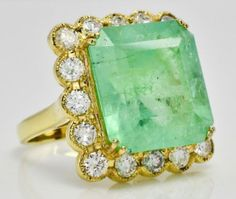 wide front face of ring (across top to bottom). Diamond Information. 10 round diamonds x. Antique Engagement Rings, Designer Engagement Rings, Diamond Gemstone, Gemstone Rings, Colombian Emeralds, Fantasy Jewelry, Ring Designs, Round Diamonds, Gold Rings