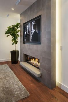 Living Room Tv Wall Decor Ideas Fire Places 40 Ideas For 2019 Fireplace Tv Wall, Basement Fireplace, Fireplace Remodel, Fireplace Design, Fireplace Ideas, Linear Fireplace, Fireplace Feature Wall, Concrete Fireplace, Fireplace Kitchen