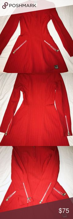 AUTHENTIC  Versace Jeans Couture Red/Orange 👗 Stunning !!!beautiful petite dress 🌺 long sleeve used twice everything perfect just one flaw  needs two small stitches on the side (not on the zipper) .  Zippered up thru the side .Stretchy material /Size 24 Versace Jeans Collection Dresses Midi