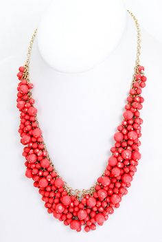 Pink Coral Beaded Necklace