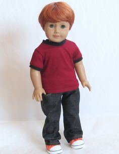 American Girl Boy Doll Clothes  Black Denim Jeans by Minipparel, $28.00