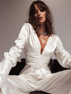 White Long Sleeve Jumpsuit, White Jumpsuit, Satin Jumpsuit, Bodycon Jumpsuit, White Outfits For Women, Wedding Jumpsuit, Designer Jumpsuits, Wide Pants, Long Jumpsuits