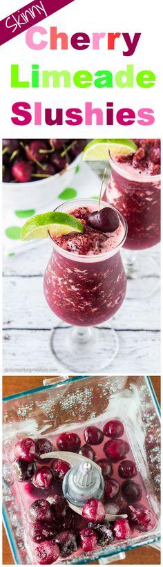 Skinny Cherry Limeade Slushies #SweetNLowStars #ad