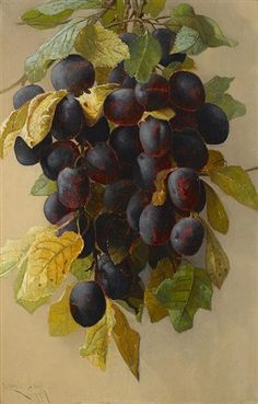 A still life with plums by Edwin Deakin