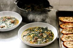 Kale, Chickpea and Chicken Soup with Rosemary Croutons | Feasting At Home