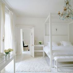 Decorating with White @Remodelaholic -- all white bedroom and bath