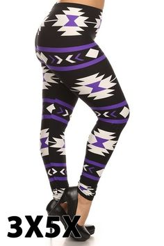 f716a0fefd147 Purple Aztec White Leggings, Printed Leggings, Plus Size Leggings, Women's  Leggings, Buskins