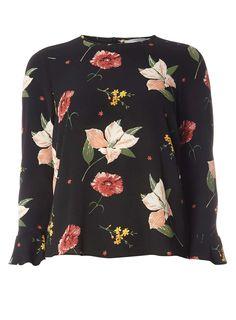 Petite Black Floral Flute Sleeve Top | Dorothyperkins