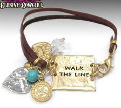 Walk The Line Bracelet stamped charm bracelet for that western cowgirl