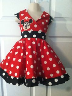 Custom Handmade Boutique Red Disney Minnie Mouse Dress sz 3m - 6y #Handmade #DressyEveryday