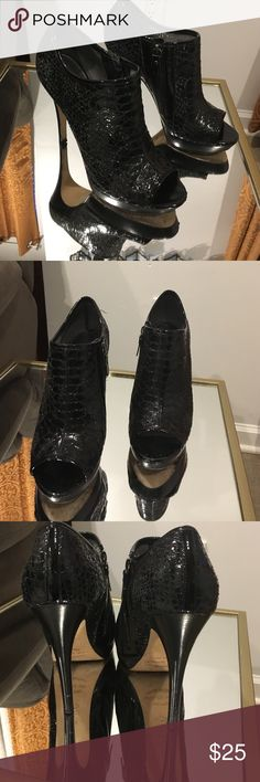 Via Spiga peep toe booties Snake skin peep toe heels with side zipper.  Lightly worn look beautiful on. Via Spiga Shoes Ankle Boots & Booties