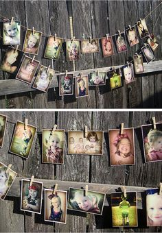 A beautiful example of using photographs on a clothes line as a backdrop.