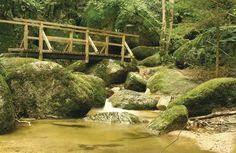 Wolfsschlucht Bad Kreuzen, Oberösterreich Garden Bridge, Golf Courses, Outdoor Structures, Stones, Hiking