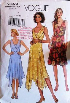 Vogue V 8070 Misses Inset Flared Uneven Hem Dress by SloCrafty