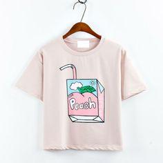 Harajuku style Peach printed short-sleeved loose t-shirt for 2016 summer