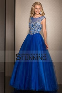 2015 A Line Scoop Tulle Prom Dresses With Beads Floor Length $209.99 SPP1NSMKCE - StunningPromDresses.com
