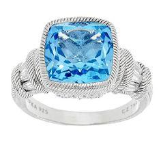 Judith Ripka 7.70ct Swiss Blue Topaz & Diamonique Estate Ring