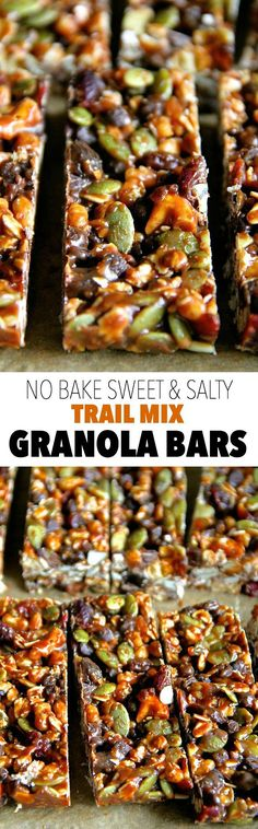 No Bake Trail Mix Granola Bars -- sweet, salty, chewy, and crisp, these granola bars are sure to satisfy any cravings! Healthy Bars, Healthy Sweets, Healthy Snacks, Healthy Recipes, Healthy Granola Bars, Homemade Granola Bars, Protein Snacks, Healthy Protein, Vegan Snacks