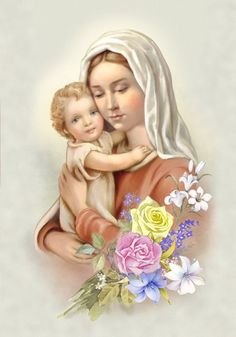 Mother Mary with Jesus and flower bouquet