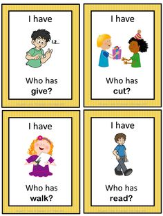 This ESL game can be played to practice English verbs. The game has 43 cards with a colorful frame and 43 cards with a simple black frame to save you ink. There are 4 cards per page.
