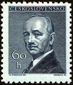Znaczek: Dr. Edvard Beneš (1884-1948), president (Czechosłowacja) (President) Mi:CS 508,Sn:CS 318,Yt:CS 436,AFA:CS 356,POF:CS 443