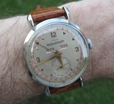 Vintage Jaeger LeCoultre Triple-Date Calendar With Turler Signed Dial In Stainless Steel