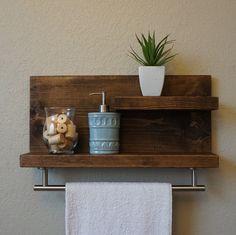 "Modern Rustic 2 Tier Bathroom Shelf with 18"" Satin Nickel Finish Towel Bar by KeoDecor on Etsy https://www.etsy.com/listing/187954208/modern-rustic-2-tier-bathroom-shelf-with"