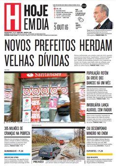 Capa do dia 05/10/2016 #HojeEmDia #Jornal #Notícias #News #Newspaper