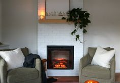 Fireplace Reveal- Our Electric Brick Fireplace - Nesting With Grace Wooden Fireplace, Shiplap Fireplace, Home Fireplace, Fireplaces, Fireplace Ideas, Faux Mantle, Hanging Artwork, Electric Fireplace, Diy Home Improvement