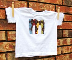 Applique Initial Shirt Argyle by mylittlemookie on Etsy, $12.00