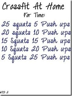 6 crossfit workouts..for added intensity maybe make it jump squats instead of regular!!!!