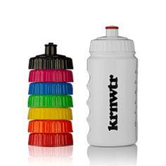 KRNWTR sportbidon met verschillende kleuren doppen.
