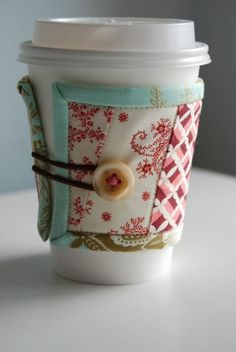 Quilted mug cozy for Starbucks addiction