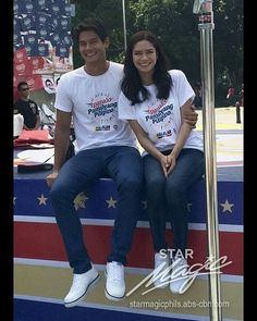 """This is the handsome Daniel Matsunaga and the pretty Erich Gonzales smiling for the camera at the Rizal Park during the taping of the 2016 ABS-CBN Summer Station ID and Halalan 2016 Station ID, """"Ipanalo ang Pamilyang Pilipino!"""" They are promoting awareness to all Filipinos to vote wisely on Halalan 2016. #DanielMatsunaga #ErichGonzales #Halalan2016 #IpanaloangPamilyangPilipino Rizal Park, Abs, Star Magic, Teen Actresses, Filipina, Season 2, Fashion Models, Summer, Handsome"""